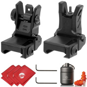 UTG Dual Aiming Aperture Low Profile Flip-up Front + Rear Sight Kit with Ear Plugs