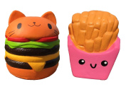 LaliLaco Squishy 2PCS (Squishy Cat Hamburger, French Fries) Slow Rising Accessories Stress Relief Toys