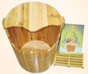 HINEW Chinese fir Foot Bath Spa home wood barrel with a cover Wood basin with a massage roller