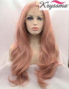 K'ryssma Fashion Baby Pink Wigs Long Wavy Lace Front Wig Mixed Colour Light Pink Synthetic Hair Natural Looking Half Hand Tied Heat Resistant Fibre 60cm