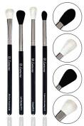 Pro Blending Brush Set - Smoky Eye Shadow Contour Kit - 4 Essential Shapes - Best Choice Crease, All Over Shader, Tapered, Soft Blender - For Shading & Blending of Eyeshadow Make Up Cream Powder Highlighter