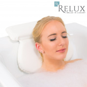 Relux Waterproof Bath Pillow with Non Slip Suction Cups Home Spa Treatment Ergonomic Headrest