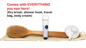 Cruelty-Free & Vegan Dry Brushing Body Brush & Back Scrubber w/ BONUS Shower Hook, Body Lotion, Travel Bag - Long Handle Reach - Excellent for Skin Exfoliating, Cellulite Treatment & Lymphatic Massage