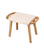 ZEMIN Solid Wooden Rectangular Dressing Bedroom Shoes Sofa Stool Furniture, Wood Colour