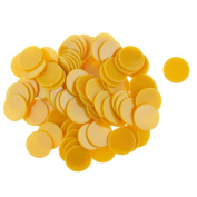 MagiDeal 25MM Plastic Casino Poker Chips Bingo Tokens Fun Toy Gift Yellow Gold Pack of 100