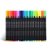 Ohuhu 24 Colours Fineliner Pens, 0.4mm Coloured Fine Line Marker Sketch Drawing Pen Highlighter Fine Liner