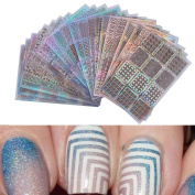 Outsta 3 Sheets Nail Hollow Irregular Grid Stencil Reusable Manicure Nail Stickers Stamping Template Nail Art Design