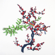 A set of Plum blossom Flower Birds(Red ,Green)Iron On Embroidered Applique Sequin Decoration Patches DIY Sew on Patch for Jeans, clothing(48cm X 41cm )