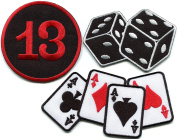 Lot of 3 poker ace of spades diamonds clubs hearts dice cards lucky 13 craps gambling embroidered appliques iron-on patches