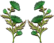 7.6cm x 12cm Emerald green carnation spray pair flowers embroidered appliques iron-on patches