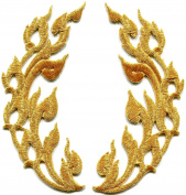 5.1cm x 11cm Gold trim flames retro boho chic art embroidered appliques iron-on patches