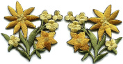 5.1cm x 5.1cm Gold lilies pair flowers floral bouquet boho retro embroidered appliques iron-ons patches