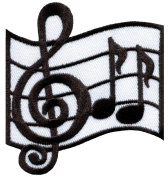 6.7cm x 7.3cm Musical notes G clef eighth music scale classical embroidered applique iron-on patch