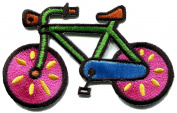 5.4cm x 8.6cm Bicycle retro bike cycle cyclist kids fun embroidered applique iron-on patch