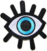 15cm Big Blue Eyeball Logo Back Jacket T-shirt Patch Sew Iron on Embroidered Sign Badge Costum Gift DIY Handmade Cloth