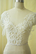 Ivory Sequin Lace Applique V Neck Neckline Floral Trims Wedding Motif