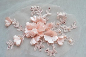 1 pair Pink 3D Flower Lace Applique with Beaded Embroidery Sewing Trims Froal Wedding Motif Patch