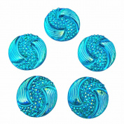 Big Beads Special Effect Blue AB Round Sew on Rhinestones Flatback Sewing For Crafts Clothes Dress Garments Decorations 20mm 30pcs