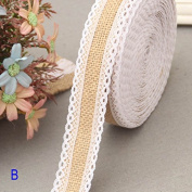Lznlink 11 Yards Rustic Jute Burlap Rolls Ribbon with Lace Trims Tape Wedding Favour DIY Handmade Crafts Accessories