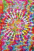 Colourful Tie Dye Mandala Tapestry Hippie Hippy Throw Bedspread Dorm Decor Bohemian Bedspread Bed Cover Bedding Psychedelic Tapestry Picnic Beach Sheet Coverlet