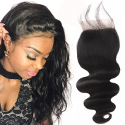 YUSHUO Beauty Brazilian Body Wave Lace Closure 10cm x 10cm Free Part 100% Virgin Human Hair Natural Black