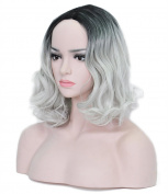 Short Grey Wig Curly Wave Women Bob Wigs Heat Friendly Cosplay Party Costume Hair Wig 28cm