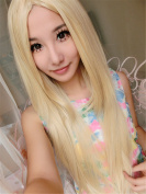 Long Straight Women Wigs Synthetic Light Blonde Wig