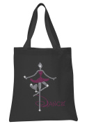 Black Dance Girl Hot Pink Crystal Tote Bags Dance Favour Ballet Gymnast party gift bags