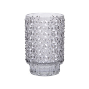 13cm Grey Faceted Glass Tinted Candle Holder Tealights Pillar Votive Home