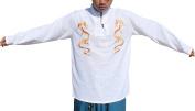 RaanPahMuang Double Breasted Dragon Embroider Art Asian Collar Cotton Shirt , Medium, White