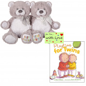 Gender Neutral Twin Teddy Bears and Book Playtime for Twins Set for Baby Shower Birthday w/Gift Tag