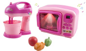 Toy Microwave and Toy Mixer Blender Children's Pretend Play Battery Operated Toy Appliance Set w/ Toy Food