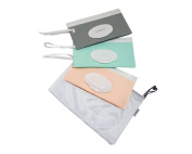 purifyou Purepouch Wipe Case - Set Of 3 Wet Wipe Cases With Free Mesh Bag, Pastel Grey, Pink & Teal