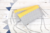 KraftKids Nest White anchors on grey and White dots on yellow Nest length 60-70-60 cm for bed sized 140 x 70 cm