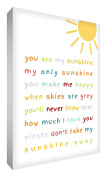 """Little Helper SUN1216-15G Feel Good Art Wall Decoration on a Canvas in a Modern Typographic Style, """"You are my sunshine"""", 30 x 20 cm, Multicoloured"""