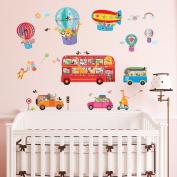 Decowall DA-1610 Animal Bus & Transport Peel and Stick Nursery Kids Wall Stickers Decals