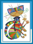 "eGoodn Stamped Cross Stitch Kits Printed Pattern - Colourful Cat 11CT 3 Strands 12.6"" x 16.5"", Embroidery Art Cross-Stitching Needlework, Frameless"