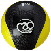 Fitness Mad PVC Medicine Ball - Black/Yellow, 1 kg