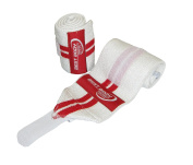 Best Body Nutrition Women's High Quality Elastic Wrist Bandages - White/Red, 30cm