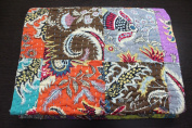 Patchwork Bedspread 100%Cotton Indian Kantha Quilt Reversible , Size 150cm X 230cm Inches Approx