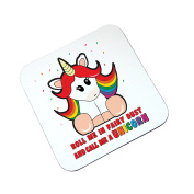 Coaster Rainbow Unicorn and Glitter Phrase Wooden Glossy Drinks Coaster Printed, one supplied table protector