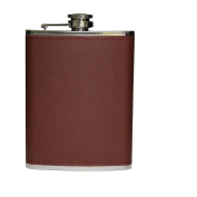 New Brown Leather Stainless Steel Hip Flask - 240ml