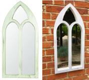 east2eden White Rub Arch Wooden Garden Outdoor Indoor Shabby Chic Vintage Wall Mirror