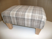 Extra Large 60cm x 46cm x 28cm High Footstool/ pouffee in a latte tartan fabric....also available in different coloured fabrics...just ask and we can make it for you
