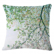Jiacheng29 Green Leaves Chair Throw Pillow Case Home Office Car Bed Sofa Linen Square Cushion Cover
