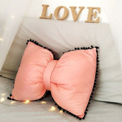 Baozengry Lovely Ball Bow Pillow Washable Bed Sofa Cushion,Pillow (Excluding Blanket) 55X43Cm,Orange Powder, Cotton Cloth, Bow Tie