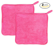 Makeup Remover Cloth (2 pack Pink) - Chemical Free Cleansing Towel - Wipes Face Clean
