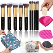 Makeup Brush Set - Makeup Cosmetic Bag, Makeup Remover Cloth Chemical Free, Cleaning Makeup Washing Brush, Konjac Sponges, Bath Shower Sponge Pouffe, 2in1 Makeup Sponge Blender & Powder Puff
