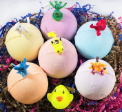 Organic Handmade Bath Bombs with Surprises for Kids – Natural and Safe Bombs with Essential Oils and Vitamins – Gender Neutral Toys Inside – Great Gift Set for Boys and Girls – 6 x 150ml