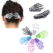 Cuhair 10pcs Fashion Hair Accessories Skeleton Claws Skull Hand Hair Clip Hairpin Zombie Punk Horror Bobby claw Barrette For Women girl